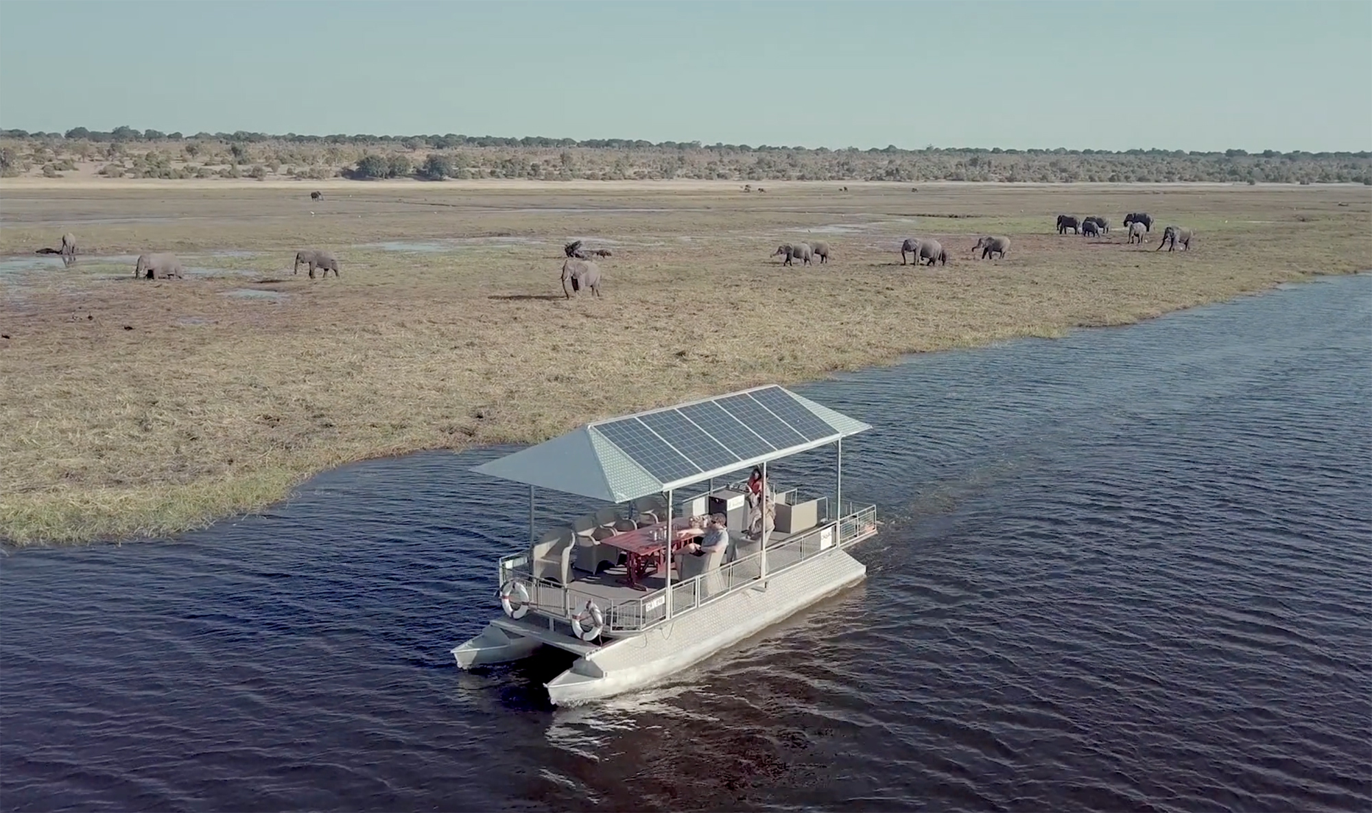 Electric boat on the Chobe River with Chobe Game Lodge