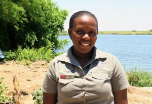 Gobe, one of the female guides at Chobe Game Lodge